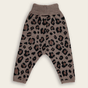Knit Baby Long Pants, Leopard