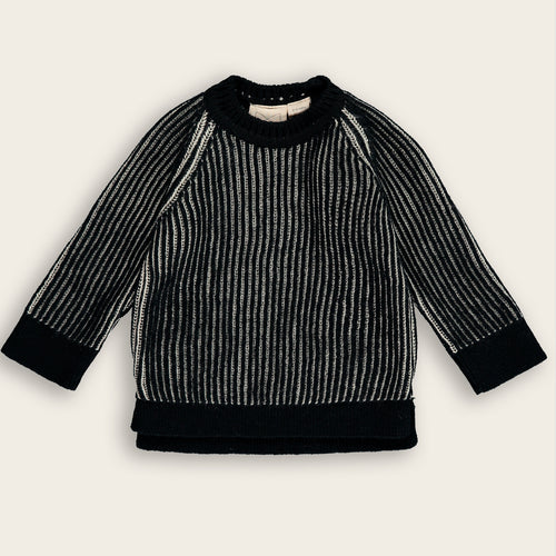 Knit Baby Sweater, Coal & Oat Stripes