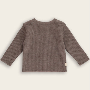 Merino Knit Baby Sweater-Cardigan, Mocha