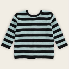 Load image into Gallery viewer, Cardigan-Sweater, Green Tea and Black, Stripes