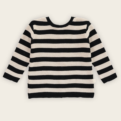 Cardigan-Sweater, Oatmeal and Black, Stripes