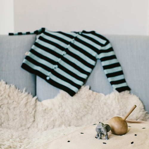 Cardigan-Sweater, Green Tea and Black, Stripes