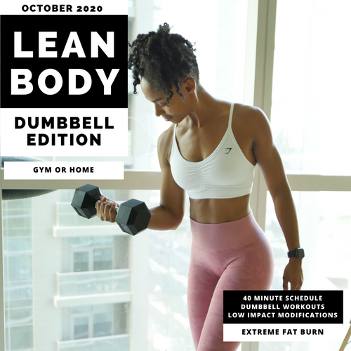 Lean Body Workout Calendar - Dumbbell Edition - October 2020