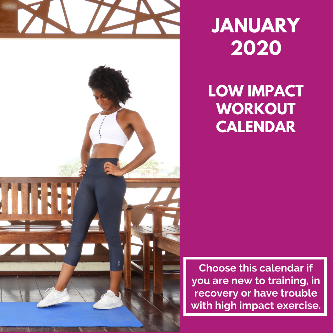 Low Impact Workout Calendar - January 2020