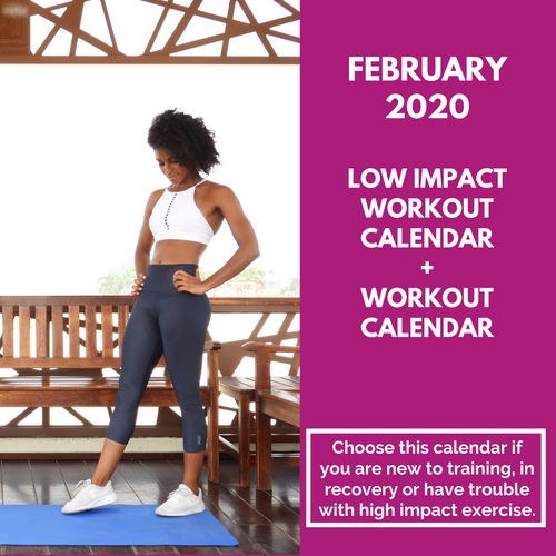 Low Impact Workout Calendar + Workout Tracker - February 2020