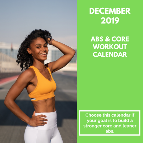 Abs & Core Workout Calendar - December 2019