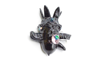 Black Three Headed Wolf Pendant