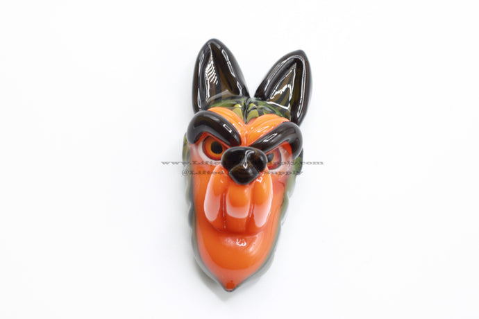 Ryan Kane Green and Orange Wolf Pendant
