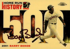 Signed 2006 Topps Chrome Gold Refractor HR History Card – HR 500 | Barry Bonds