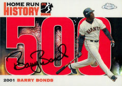 2006  Signed Topps Chrome Red Refractor HR History Card – HR 500 | Barry Bonds