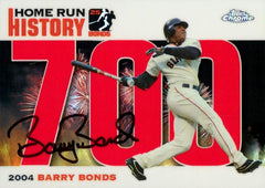 2006 Signed Topps Chrome Red Refractor HR History Card  – HR 700 | Barry Bonds