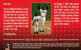 Signed 73 Home Run Bellpark Commemorative Card