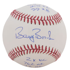 Barry Bonds Signed And Multi-Inscribed With Career Highlights Official MLB Baseball - Limited Edition of 25 | Barry Bonds