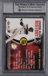 Barry Bonds Signed 2005 Topps Chrome Chasing HR History Red X Refractor #700 Beckett Encapsulated Perfect 10