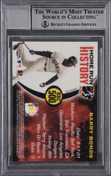 Barry Bonds Signed 2005 Topps Chrome Chasing HR History Red X Refractor #500 - Beckett Encapsulated Perfect 10