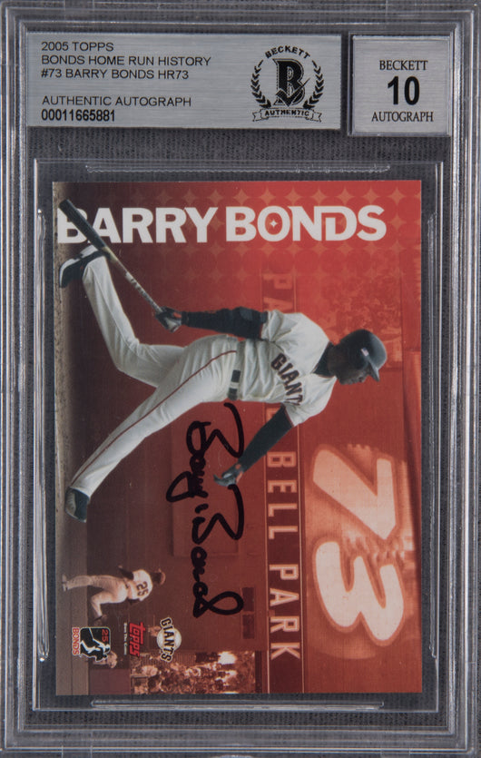 Barry Bonds Signed 2005 Topps Home Run History #73- Beckett Encapsulated Perfect 10
