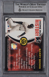 Barry Bonds Signed 2005 Topps Chrome Chasing HR History Black  Refractor #500 -- Beckett Encapsulated Mint 9