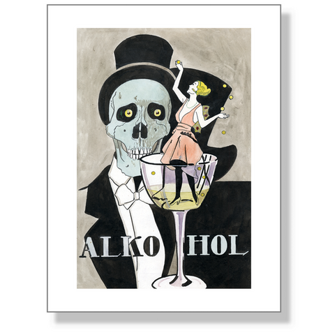 ALKOHOL silent film 1919 Alan Lind Oskar Hacker original artwork