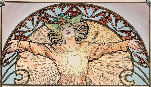 Expressing gratitude; an original Mucha painting, one of the glorious and enchanting rarities from our upcoming book.