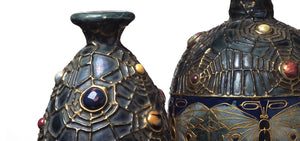 Cobwebbed jeweled amphora Century Guild