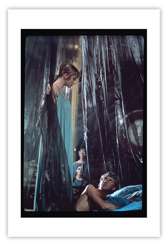 Helen Mirren and Malcolm McDowell, Large color photograph | Caligula: The Mario Tursi Photos | Archival silver rag photograph