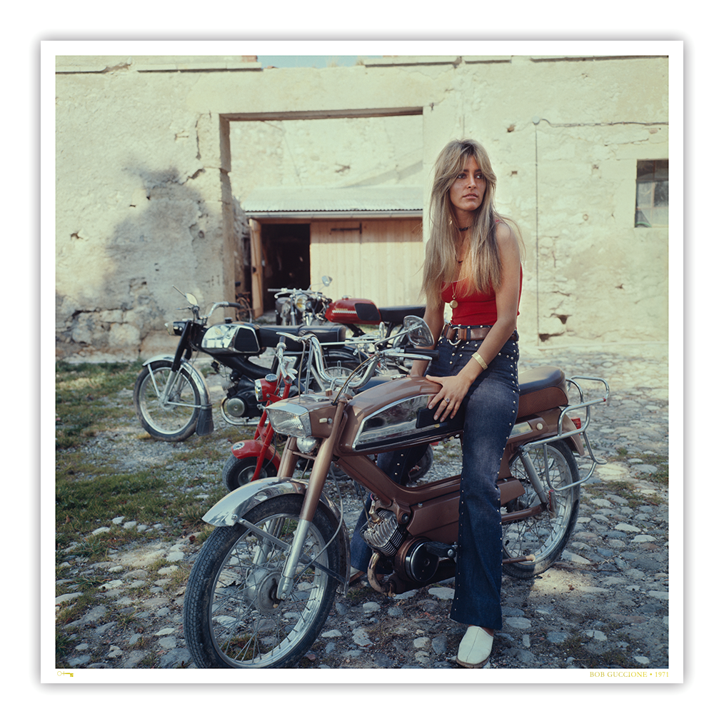 Lynn Partington on motorcycle, Penthouse Magazine, 1971 by Bob Guccione | 44 x 44 inch Archival silver rag photograph