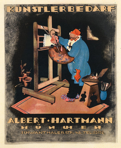 "Hermann Keimel's ""Albert Hartmann Art Supplies"" Lithograph, c. 1920"