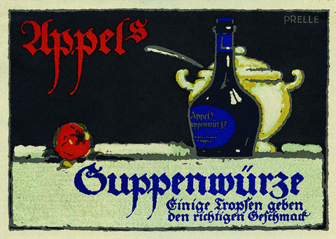 "Christian Prelle ""UPPELS SUPPERNWURZE"" German cooking Lithograph, c. 1920"
