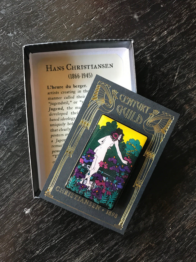Hans Christiansen L'Heure du berger Hour of the Shepherd Art Nouveau Jugendstil Enamel Pin Century Guild