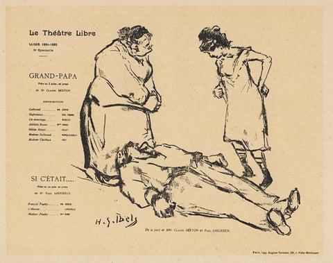"Henri-Gabriel Ibels ""Program for the Théâtre Libre production of Grandfather"" Lithograph, 1894"