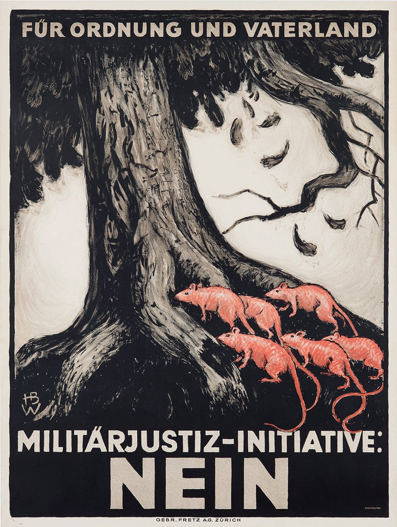 Beautiful Macabre Rare Antique Posters Militärjustiz-Initiative: NEIN Hans Beat Wieland German Anti Communism Poster