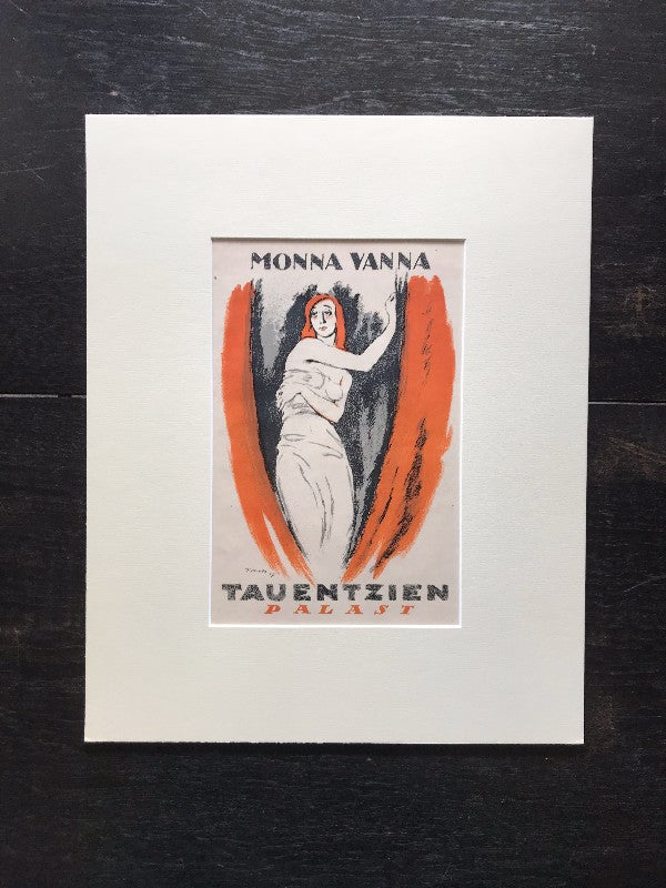 Transcendent Luxury: Original Antique German Art Deco Lithograph c. 1917
