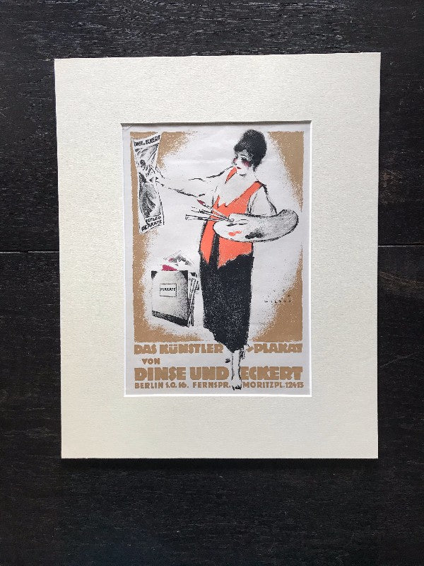 Transcendent Luxury: Original Antique German Art Deco Lithograph c. 1919