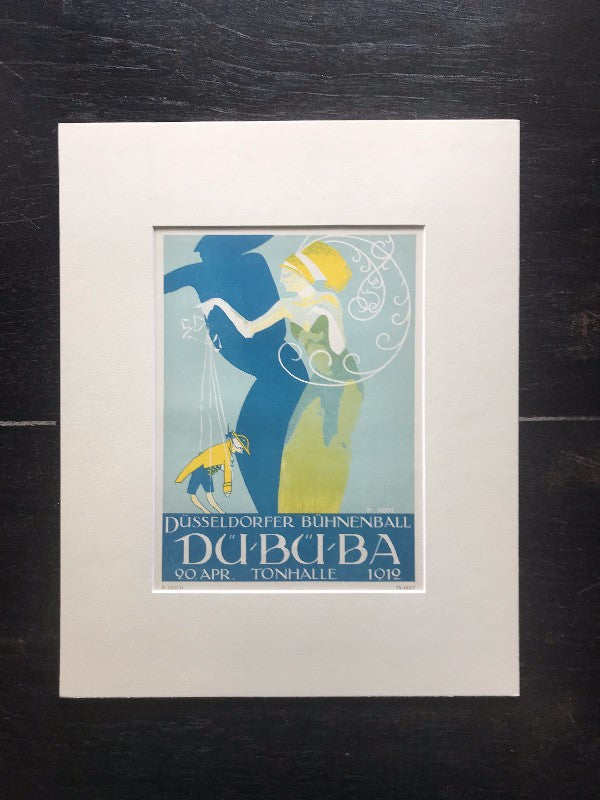 Transcendent Luxury: Original Antique German Art Deco Lithograph c. 1912