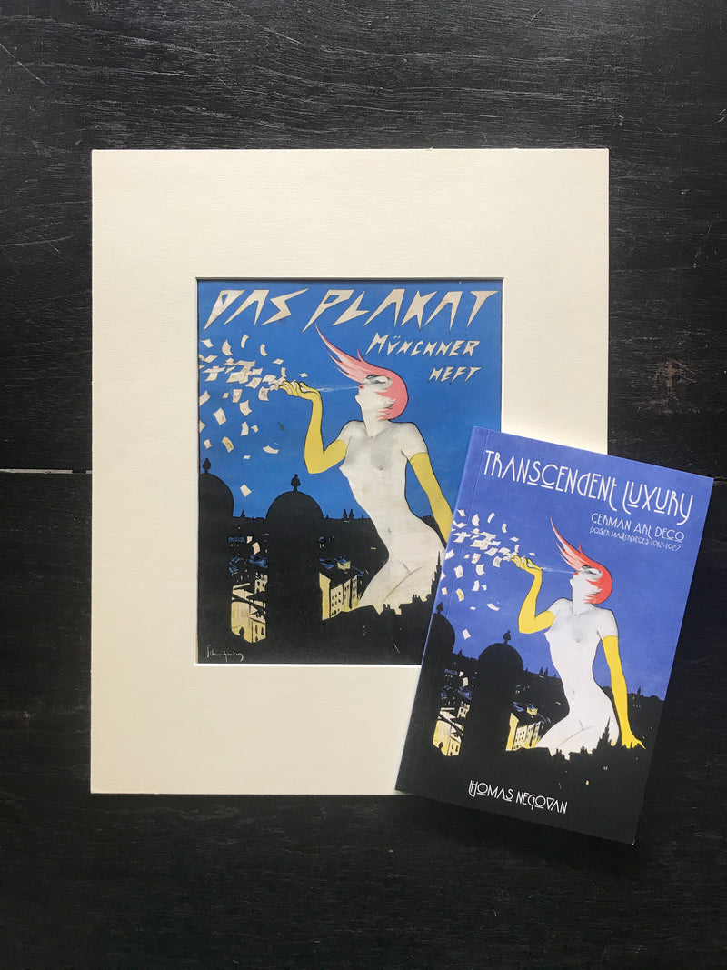 Transcendent Luxury Gift Set: Book + Original Antique German Art Deco Lithograph c. 1921