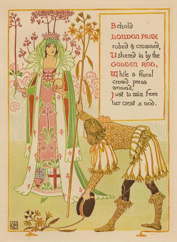 "Walter Crane ""London Pride & Golden Rod"" Lithograph, c. 1899"