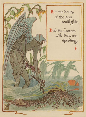 "Walter Crane ""The Hours of the Sun Swift Glide"" Lithograph, c. 1899"