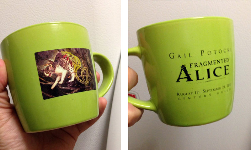Fragmented Alice teacup and saucer (and tote) CLOSING EVENT- EXTREMELY LIMITED EDITION