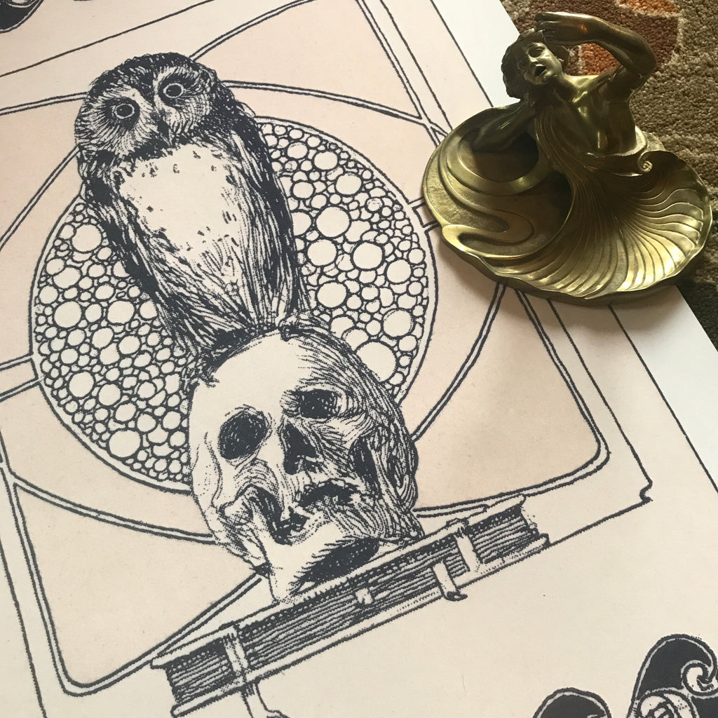 Owl Skull and Book Vanitas Illustration Century Guild Museum Fine Art Print