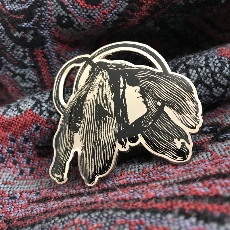 Art Nouveau Enamel Pin [Hans Christiansen - The Hour of the Shepherd]