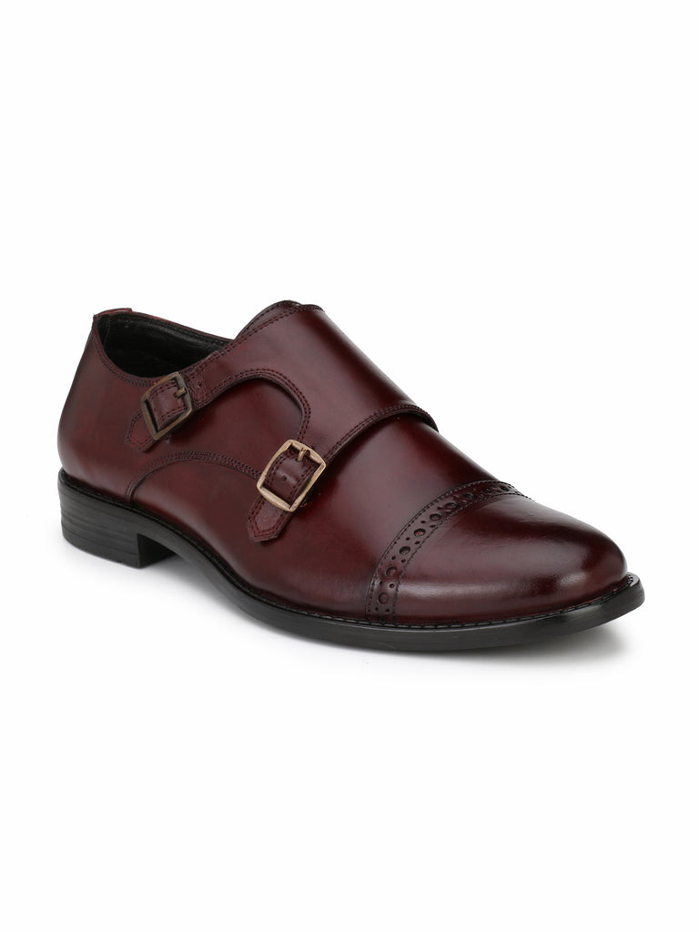 Burgundy Monk Strap Boots | Full Grain Leather | Saddle & Barnes