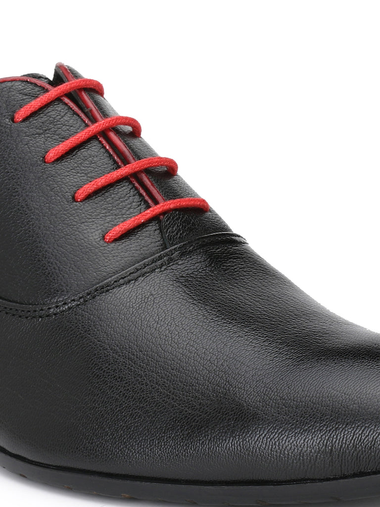 Black Oxfords With Red Laces & Trim | Full Grain Leather | Saddle & Barnes