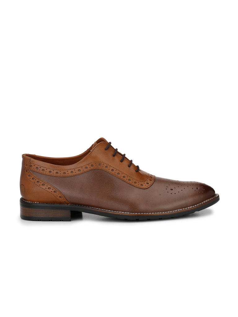 Tan-Brown Brogues | Full Grain Leather | Saddle & Barnes