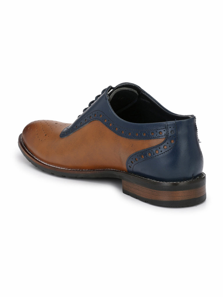 Tan-Blue Brogues | Full Grain Leather | Saddle & Barnes