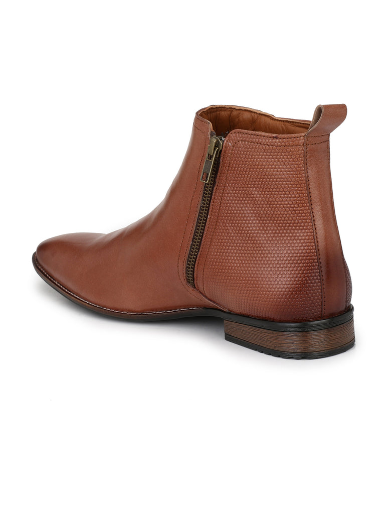 Tan Zip Up Ankle Boots | Full Grain Leather | Saddle & Barnes