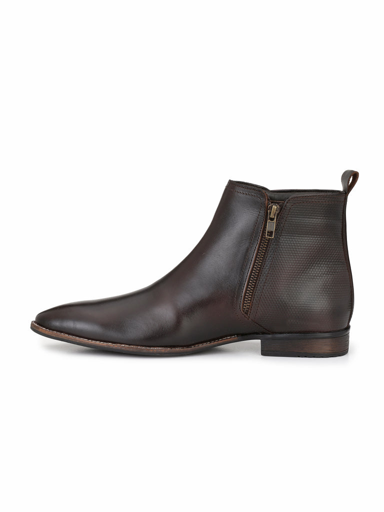 Brown Zip Up Ankle Boots | Full Grain Leather | Saddle & Barnes