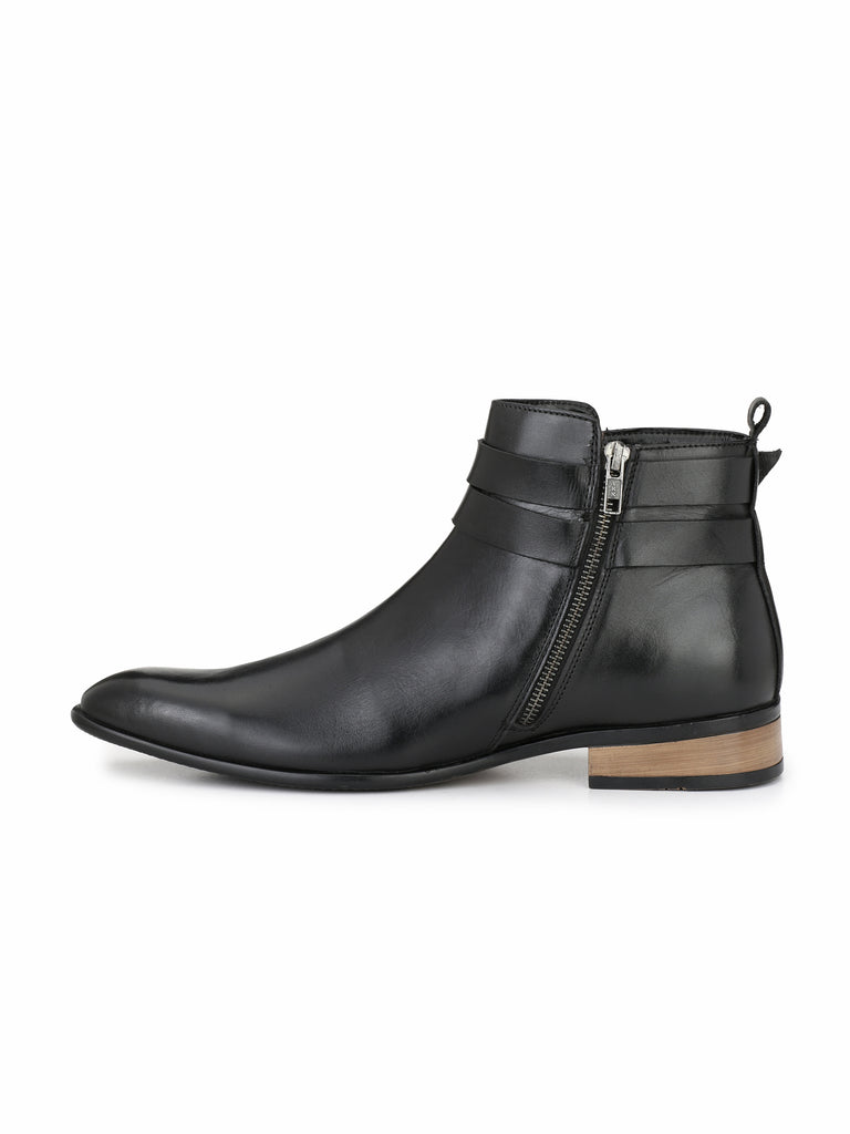 Black Zip Up Ankle Boots | Full Grain Leather | Saddle & Barnes