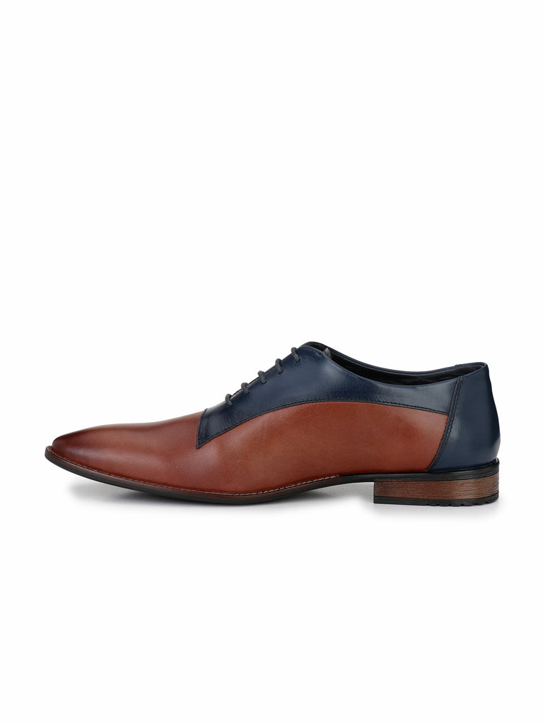 Tan-Blue Oxfords | Full Grain Leather | Saddle & Barnes