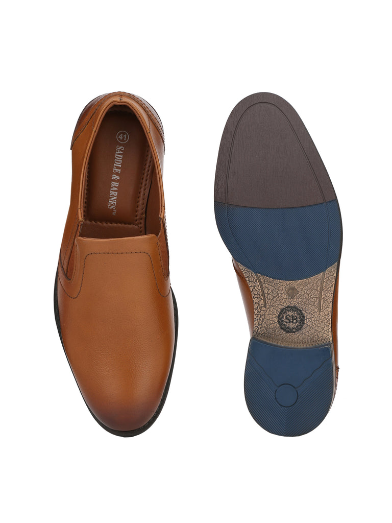 Tan Slip Ons | Full Grain Leather | Saddle & Barnes
