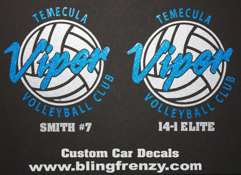 Custom viper volleyball car decals